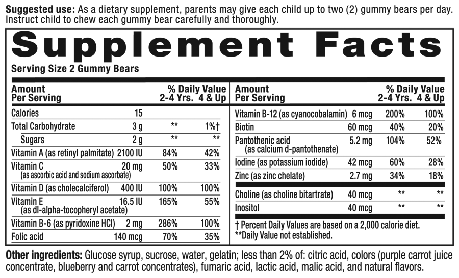 Gummy Vites Sour Supplement Facts