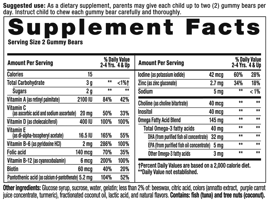 Gummy Vites Plus Omega 3 Supplement Facts