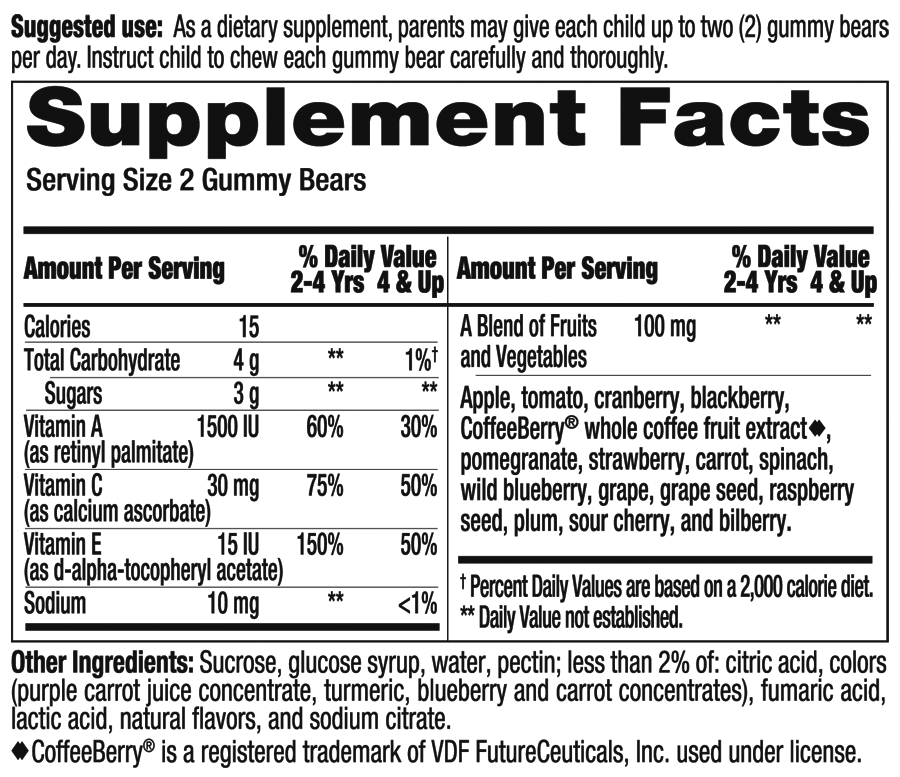 Fruit and Veggie Supplement Facts
