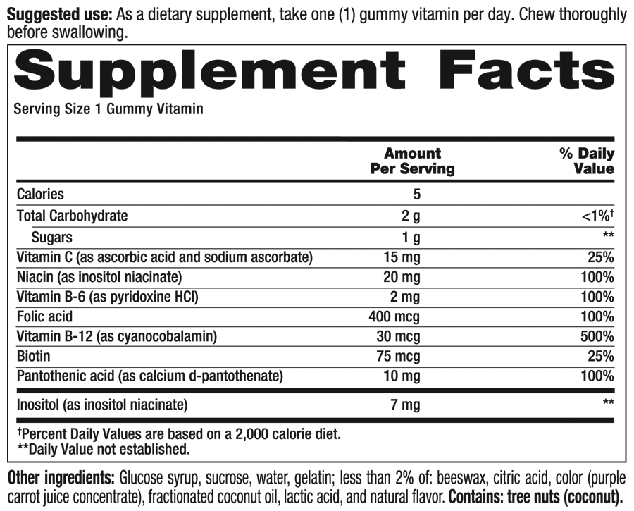 B Complex Supplement Facts