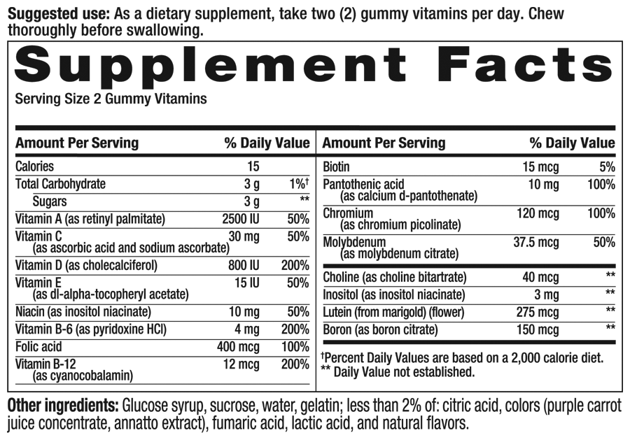 Multivites Sour Supplement Facts