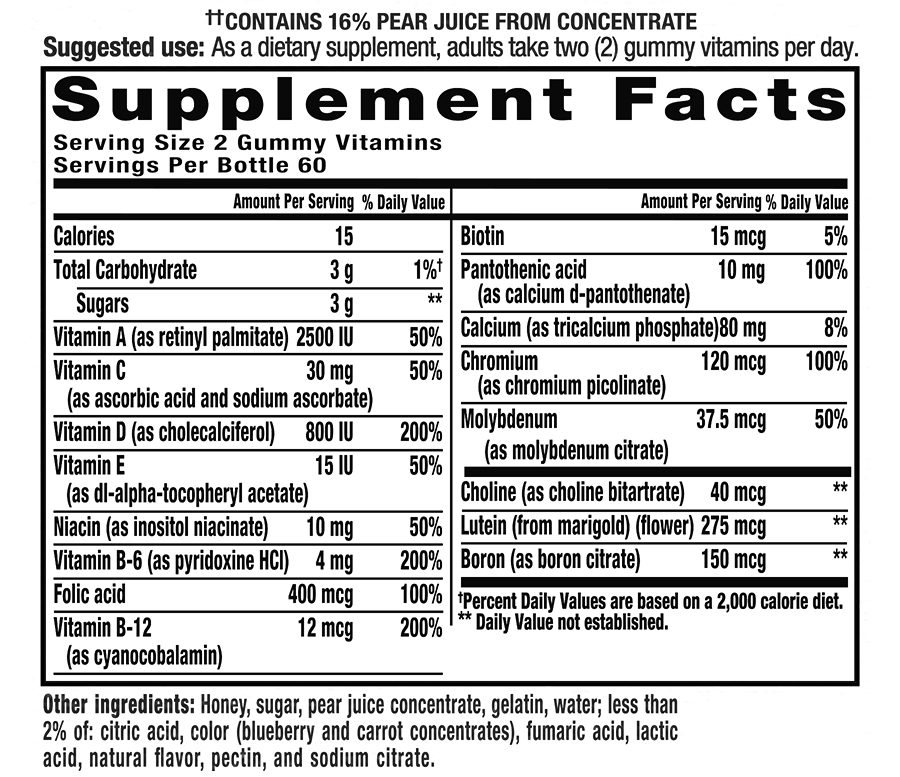 vitafusion Simply Good Multivitamin Supplement Facts