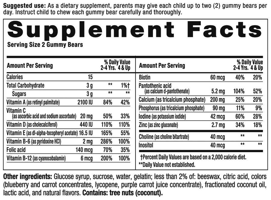 Gummy Vites Plus Bone Support Supplement Facts
