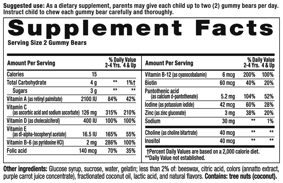 Gummy Vites Plus Immune Support Supplement Facts