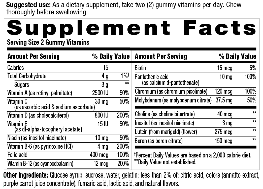 Teen Sport Multivitamin Supplement Facts